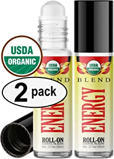 Organic Energy Blend Roll On Essential Oil Rollerball (2 Pack - USDA Certified Organic) Pre-diluted with Glass Roller Ball for Aromatherapy, Kids, Children, Adults Topical Skin Application - 10ml