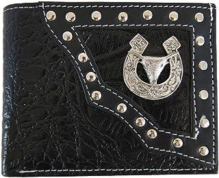 Bull Headウォレット本革カウボーイ西部メンズ二つ折りコンチョ財布