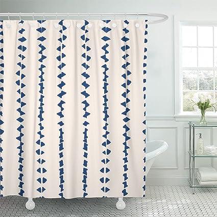 Emvency Cortina de ducha con tinte anudado Shibori, tinta japonesa, moderna, batik, acuarela, índigo, azul y blanco, diseño de acuarela, tela de ...