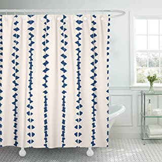 Emvency Shower Curtain Tie Dye Shibori Ink Japanese Modern Batik Watercolor Indigo Endless Blue and White Watercolour Design Waterproof Polyester Fabric 72 x 72 inches Set with Hooks