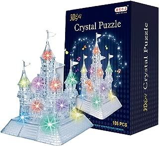 Monique Children 105PCS 3D Crystal Castle Puzzle -3D Blocks Jigsaw Puzzles Game with Light-Up Musical