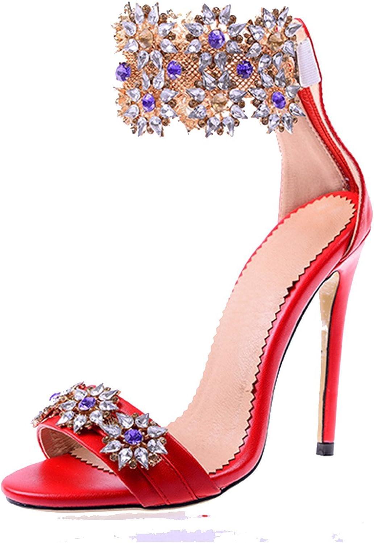 MiNi Women's High Heeled Stiletto Rhinestone Ankle Strap Zip Open-Toe Sandals