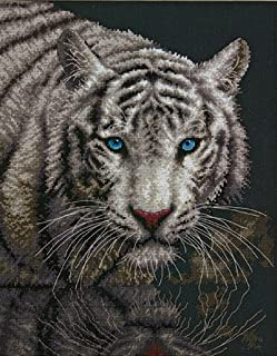 Dimensions White Tiger Counted Cross Stitch Kit, 14 Count Black Aida, 11'' x 14''