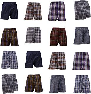 100% Egyptian Cotton Men Woven Boxer Check Print Assorted Colors Comfortable Shorts Underwear Available in Pack of 3 6 9 12