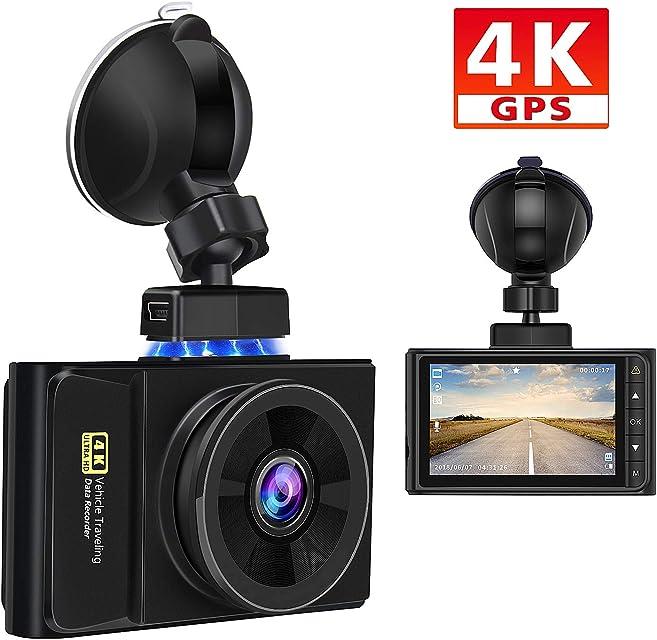 AWESAFE 4K GPS Cámara de Coche Dashcam con Full HD 170 Ángulo Cámara para Coche con Soporte Magnético con G-Sensor Detección de Movimiento Grabación en Bucle y Visión Nocturna