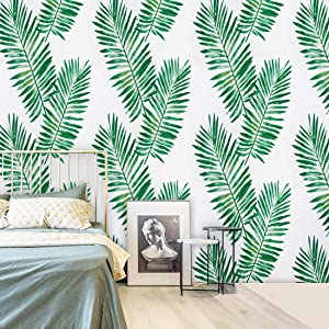 17.71''X118'' Tropical Palm Peel and Stick Wallpaper Green Contact Paper for Countertops Removable Wallpaper Leaf Contact Paper Decoration Furniture Wallcovering Cabinet
