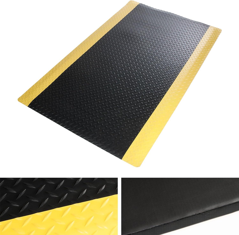 Schwarz-Gelb Arbeitsplatzmatte 60x250 cm Warnstreifen Anti-Erm/üdungsmatte Dyna-Protect Diamond