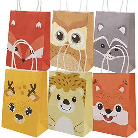 12 PAK Woodland Animal Fox Baby Shower Party Favor Bags 5x7  Boy Girl   Candy Popcorn Cookie Treat Favor Bag  Gift Bag  3 Day Ship