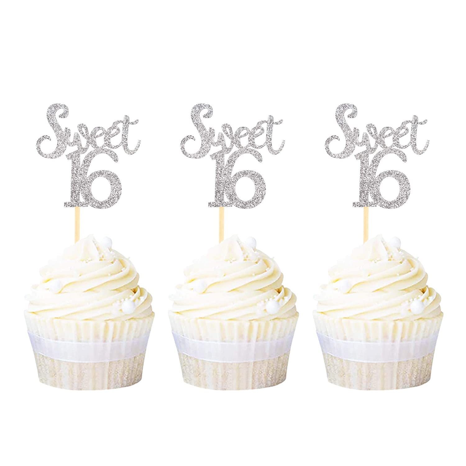 Ercadio Silver Sweet 16 Cupcake Outstanding Sixteen Glitter Spring new work Cupc Toppers Age