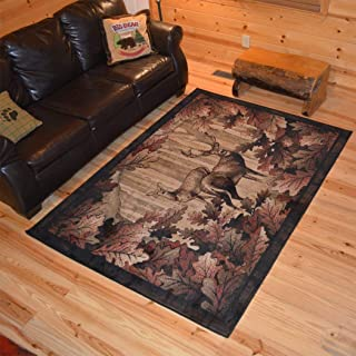 LL 5'3x7'3 Black Brown Red Cabin Area Rug Rectangle Shaped, Indoor Yellow Southwest Carpet for Living Room Deer Themed Lodge Nature Wildlife Forest Woods Leaves Rustic, Polypropylene