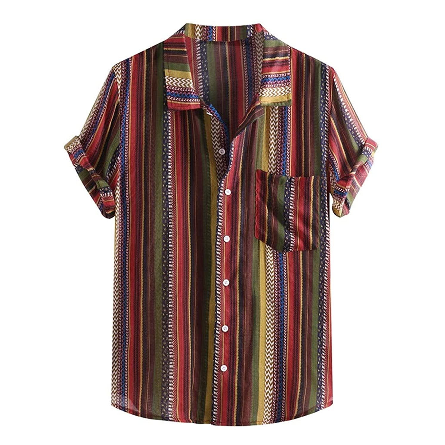 Koolee Mens Tops,Mens Ethnic Printed Stand Collar Colorful Stripe Short Sleeve Loose Henley Shirt