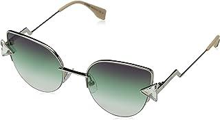 Fendi Rainbow Cateye Sunglasses in Silver Green FF 0242/S VGV 52