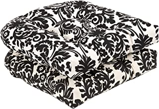 Pillow Perfect Indoor/Outdoor Damask Wicker Seat Cushions, 2 Pack, Black/Beige