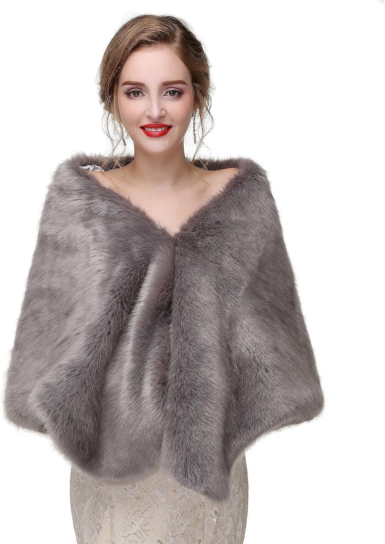 BessWedding Womens Faux Fur Wrap Wedding Bridal Shawl Cape Stoles for Winter