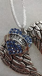 Baby Boy Infant Memorial Guardian Angel Wings Ornament with Heart Charm Keepsake