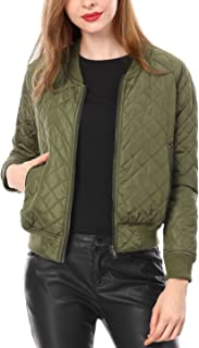 Women's Raglan Long Sleeves Quilted Zip Up Bomber Jacket