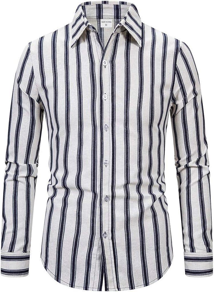 MODOQO Men's Button Down Shirts Long Sleeve Casual Cotton Striped Blouse Tops