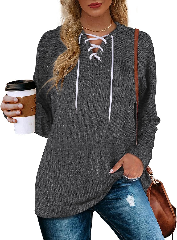 Aloodor Women's Max 86% OFF Hoodies Pullover Drawstr Sweatshirts Sleeve Long Popular standard