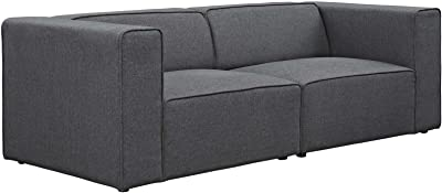 Modway Mingle Contemporary Modern 2-Piece Sectional Sofa Set in Gray