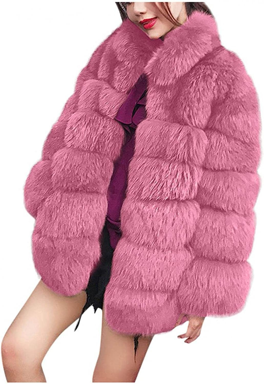 Women's Long Sleeve Plush Faux Fur Thicken Jacket New Casual Winter Warm Open Front Stand Collar Coat Outerwear