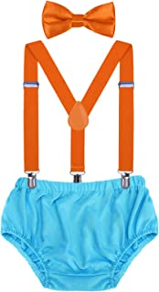 AWAYTR Baby Boys Cake Smash Outfit - First Birthday Party Suspenders Bow Tie Bloomers Set (Orange+Sky Blue)