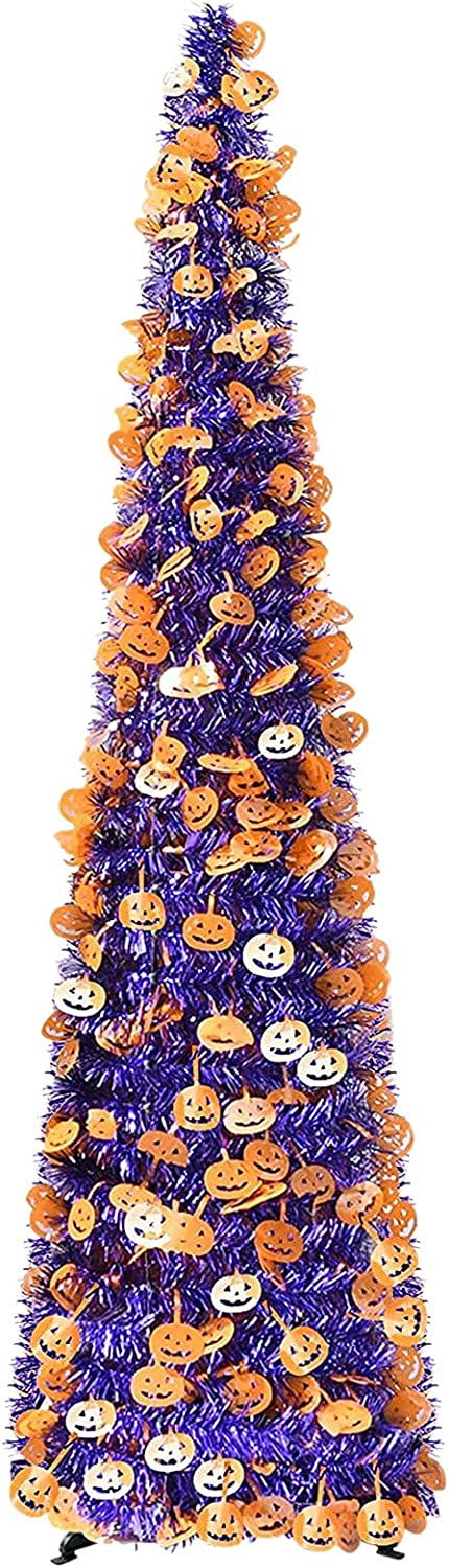 5FT Direct sale of manufacturer Pop Up Tinsel Halloween Trees Purple Christmas OFFer