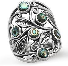 Silvershake Abalone Paua Shell 925 Sterling Silver Filigree Leaf Ring