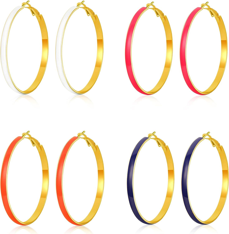 TOBENY 4 Pairs Big Hoop Earrings for Women 50mm White Pink Blue Orange Hoop Earrings Set