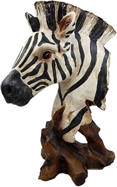 Ebros Safari African Savanna Zebra Horse Wildlife Bust Statue As Zoo Zebras Horses Stallions Decorative Figurine In Faux Wood Finish 11 5 Tall Beautiful Black And White Stripes 3D Animal Art Decor