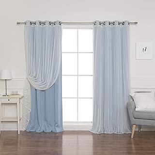 Best Home Fashion uMIXm Tulle Sheer Lace & Blackout 4 Piece Curtain Set - Antique Bronze Grommet Top - Ocean - 52