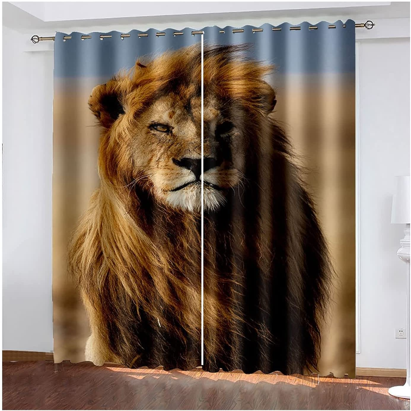 Curtains Living Max 59% OFF Room 2 Panels Bedroom Very popular Windows Lion for