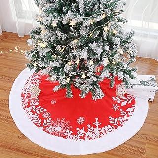 90 cm D/écoration de sol P/ère No/ël Forme ronde Jupe de sapin de No/ël Tapis Rouge