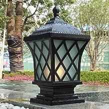 Outdoor Post Light Pillar Black Metal Aluminum Decking & Patio Lighting Fixture E27 Rustic Country Pillar Pole Lamp in Vic...
