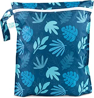 Bumkins Waterproof Wet Bag, Washable, Reusable for Travel, Beach, Pool, Stroller, Diapers, Dirty Gym Clothes, Wet Swimsuits, Toiletries, Electronics, Toys, 12x14 - Blue Tropic