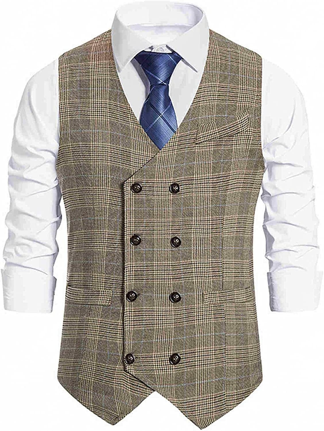 Huangse Mens Plaid Business Suit Vest Regular Fit Jacket Casual Irregular Checked Vest Double Breasted Business Waistcoat