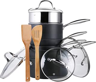 AMERICOOK Black Pans and Pots Set,12 piece Hard Anodized Cookware Set - Grey Ceramic Non-Stick Coating Pots and Pans with Stainless Steel Stay-Cool Handles, Vented Glass Lids and Bamboo Wood Utensils