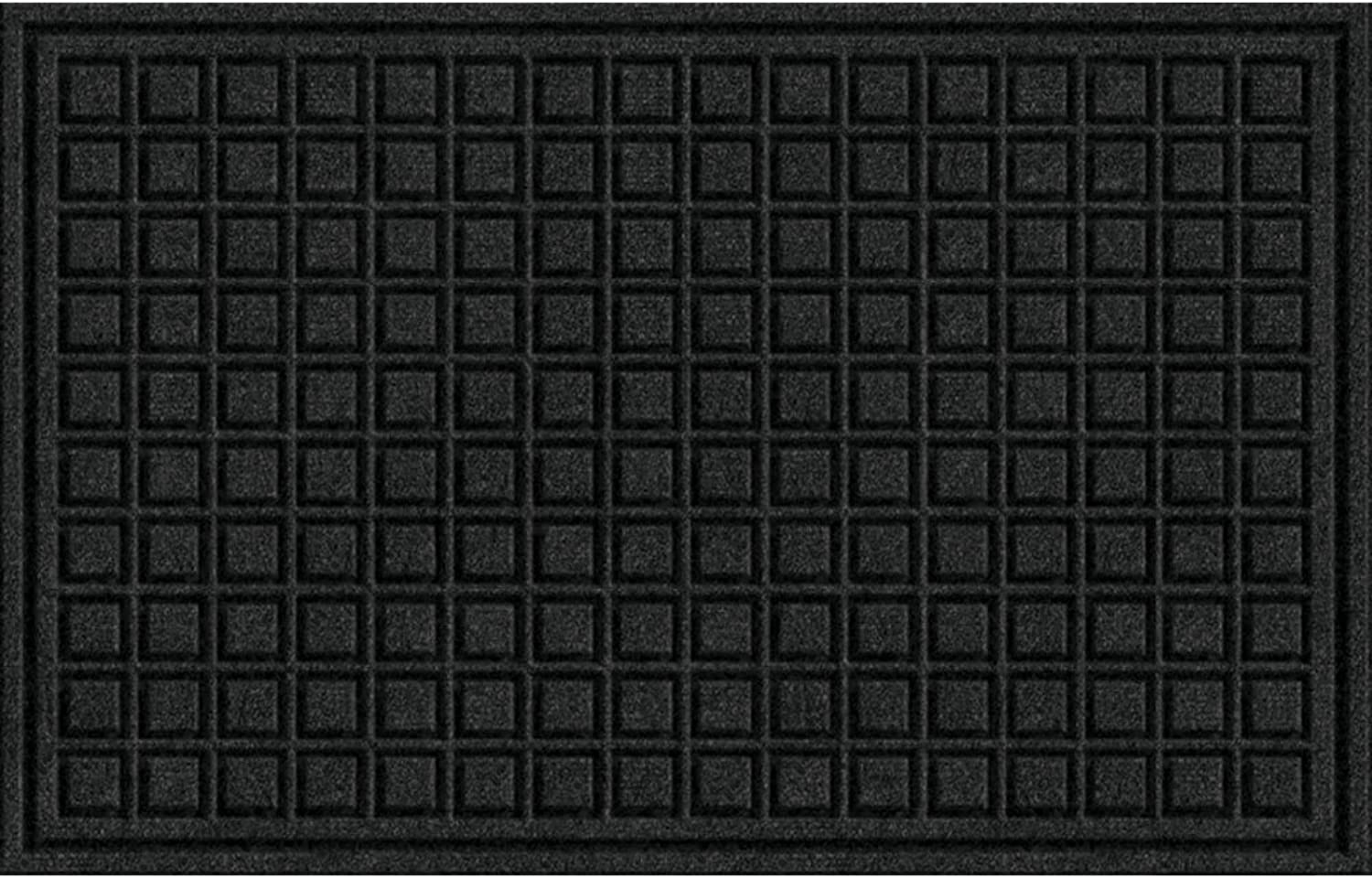 Textures Blocks Entrance Door Mat, 18-Inch by 30-Inch, Onyx