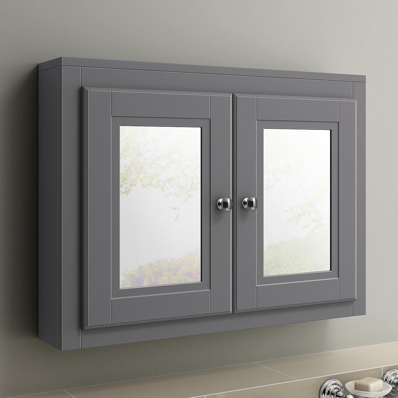 600 x 800 Traditional Grey Wall Hung Double Door Bathroom Mirror Cabinet