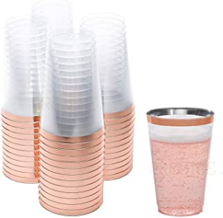 Rose Gold Plastic Cups | 14 oz. 50 Pack | Hard Clear Plastic Cups | Disposable Party Cups | Fancy Wedding Tumblers | Nice Rose Gold Rim Plastic Cups | Elegant Decoration Cups | Plastic Tumblers Bulk