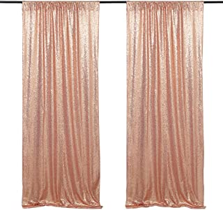 Wedding Photo Backdrop 2 Pieces 2ftx8ft Rose Gold Sequin Fabric Backdrop Prom Curtain Backdrop Baby Shower Photo Background