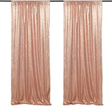 Glitter Sequin Curtains Rose Gold Sequin Drape Panels Backdrops 2 Pieces 2FTX8FT Wedding Ceremony Backdrop
