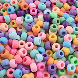 Song Xi 1000pcs Matte Multicolor Pony Beads 6x9mm Beads for Friendship Bracelets and Jewelry Making