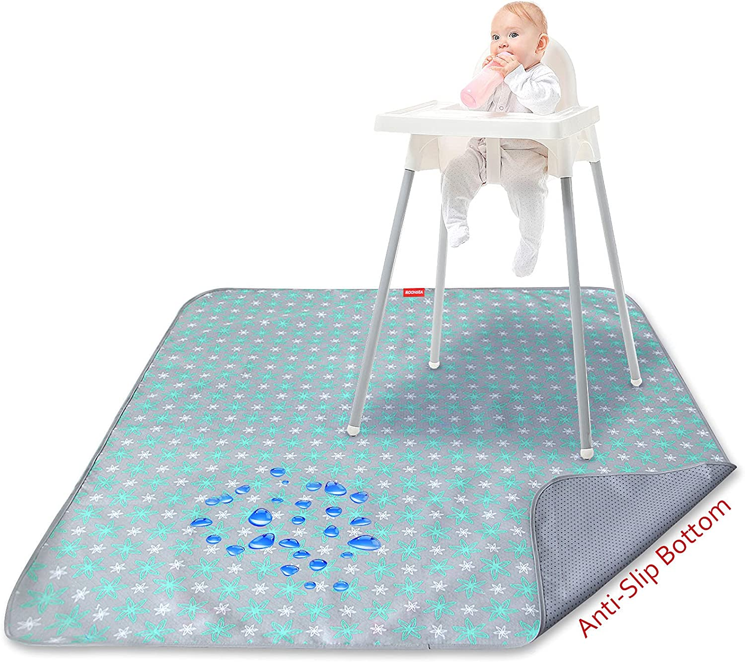 Splat Mat High Chair Mat for Mealtime, Anti Slip and Waterproof Splash Mat, Baby Playtime Splat Mat for Art and Crafts, Machine Washable Portable Picnic Mat and Baby Feeding Table Cloth