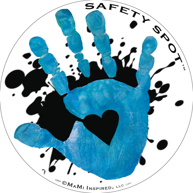 Safety Spot Magnet - Kids Handprint for Car Parking Lot Safety - White with Black Splat Background (Blue)