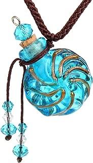CCSC-PEC Round Gold Dust oil ashes urn bottle cork Blue Glass pendant vial Necklace