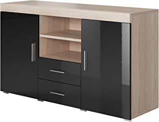 muebles bonitos Aparador Moderno Modelo Roque Sonoma Negro de melamina Brillo Ancho 140cm Alto 80cm Profundo 40cm