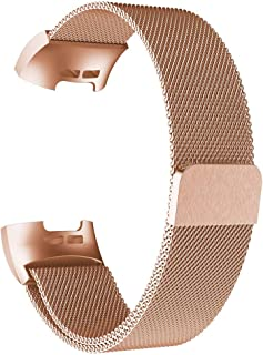 Fitbit Charge 3 Watch Band, Milanese Loop Mesh Stainless Steel Replacement Strap with Magnetic Closure - Rose Gold
