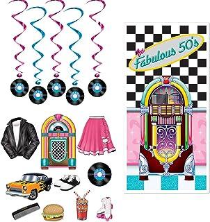 Fabulous 50s Door Cover Rock n Record Dangling Whirls Cutouts 16 Piece Bundle