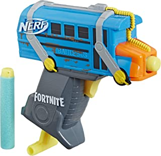 NERF Fortnite Micro Battle Bus Microshots Dart-Firing Toy Blaster & 2 Official Elite Darts for Kids, Teens, Adults