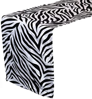 Your Chair Covers - 12 x 108 inch Damask Table Runner Zebra